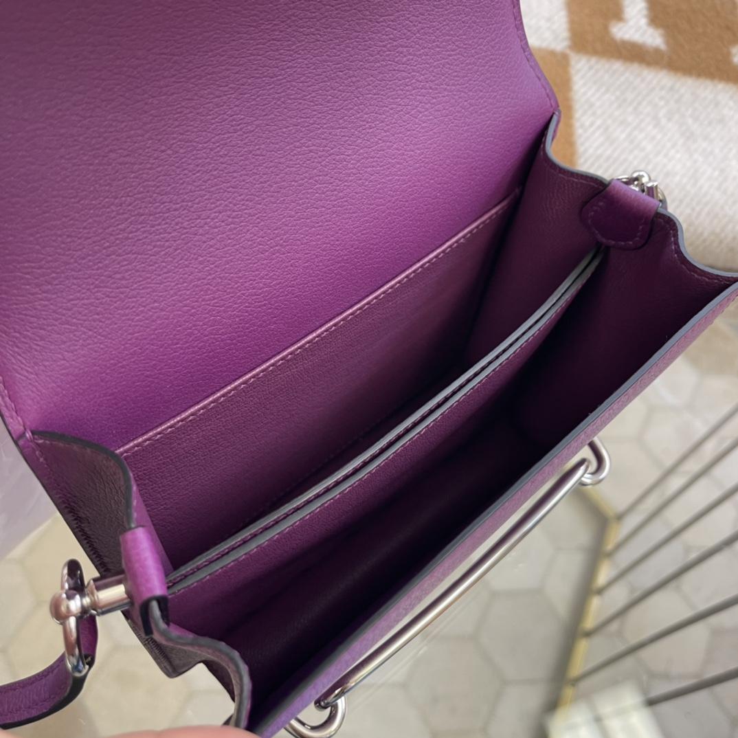 爱马仕包包工厂 Roulis猪鼻子 19cm Evercolor P9海葵紫 银扣