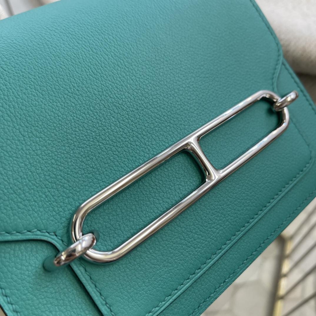 爱马仕包包工厂 Roulis猪鼻子 19cm Evercolor U1维罗纳绿 银扣