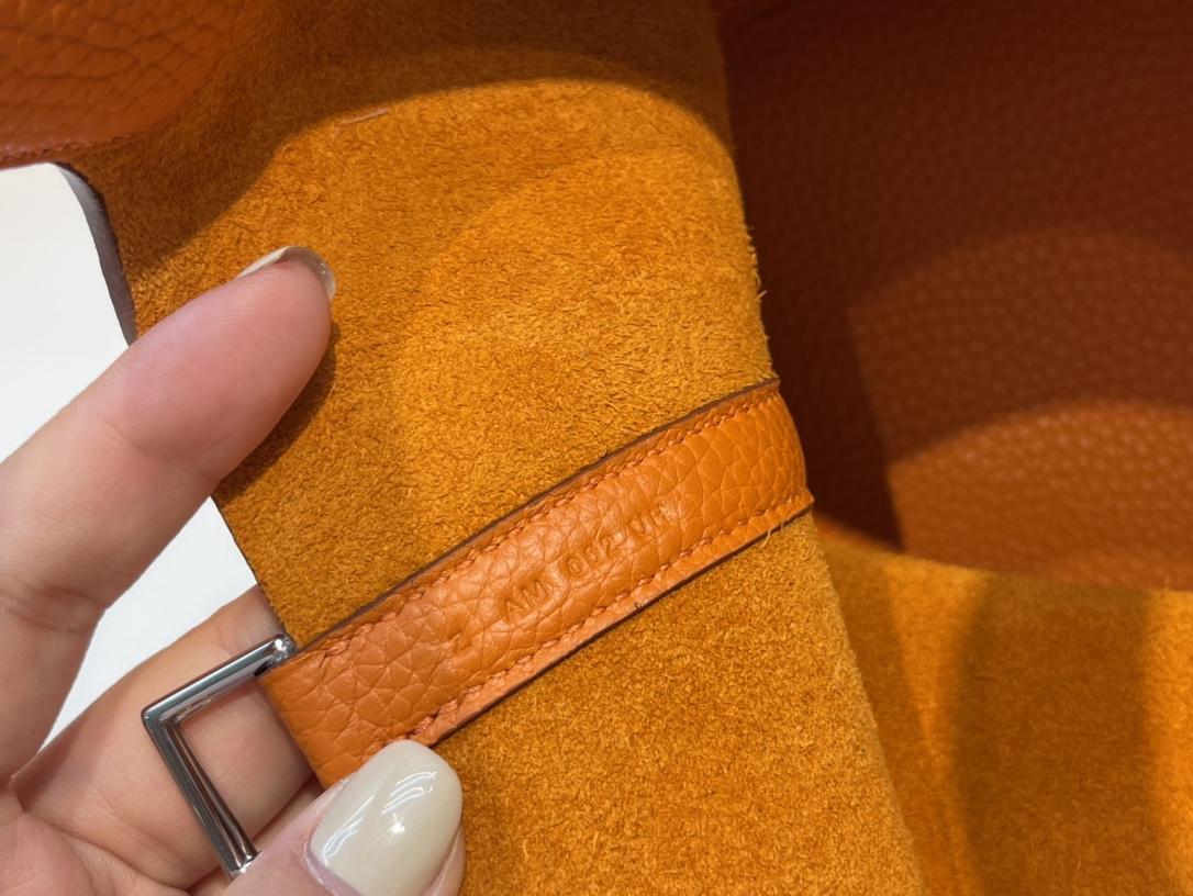爱马仕包包工厂 Picotin菜篮子 18cm 进口TC皮 93橙色 银扣
