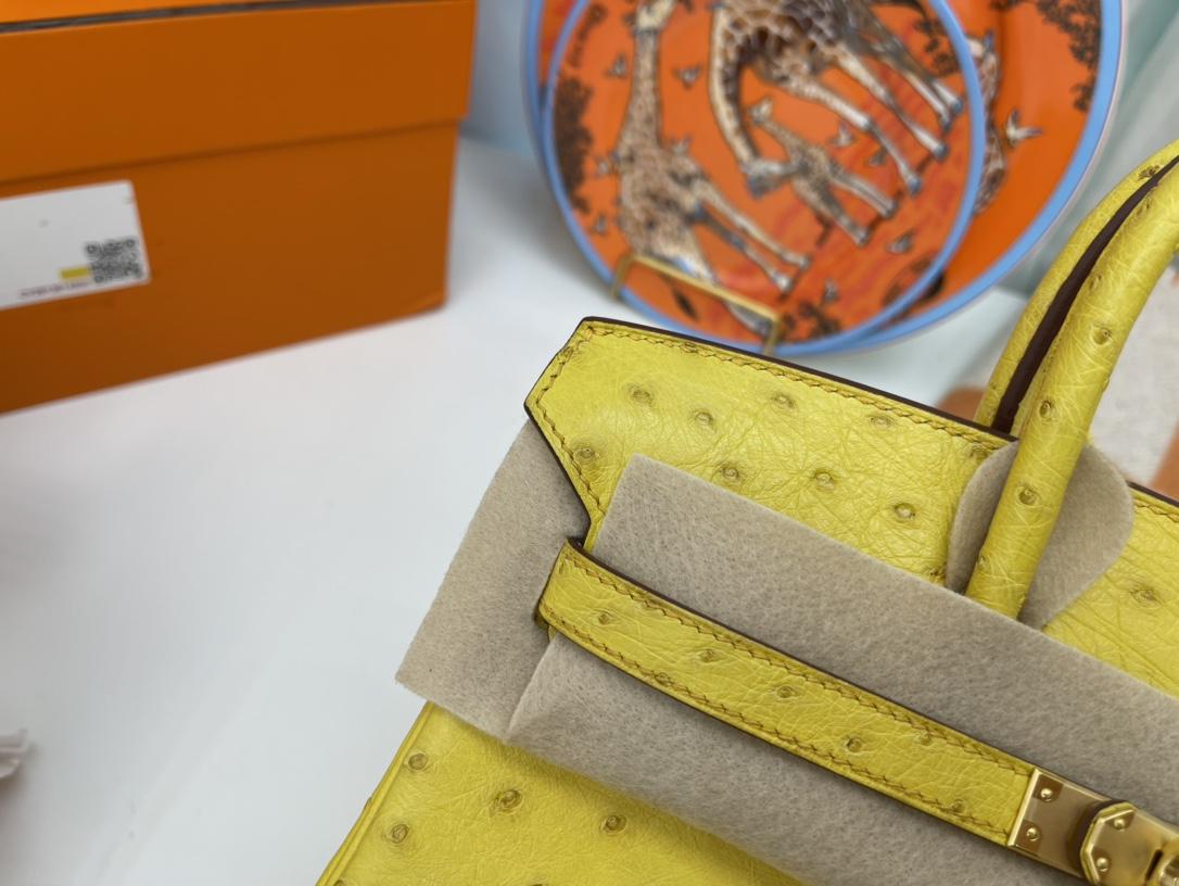爱马仕铂金包 Birkin 25cm 南非KK鸵鸟皮 9R柠檬黄 金扣