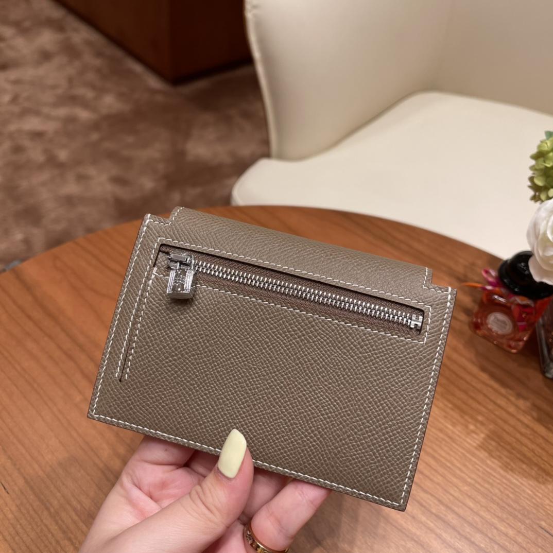 爱马仕包包 Kelly Pocket颜值和实用兼备 Epsom皮 18大象灰银扣