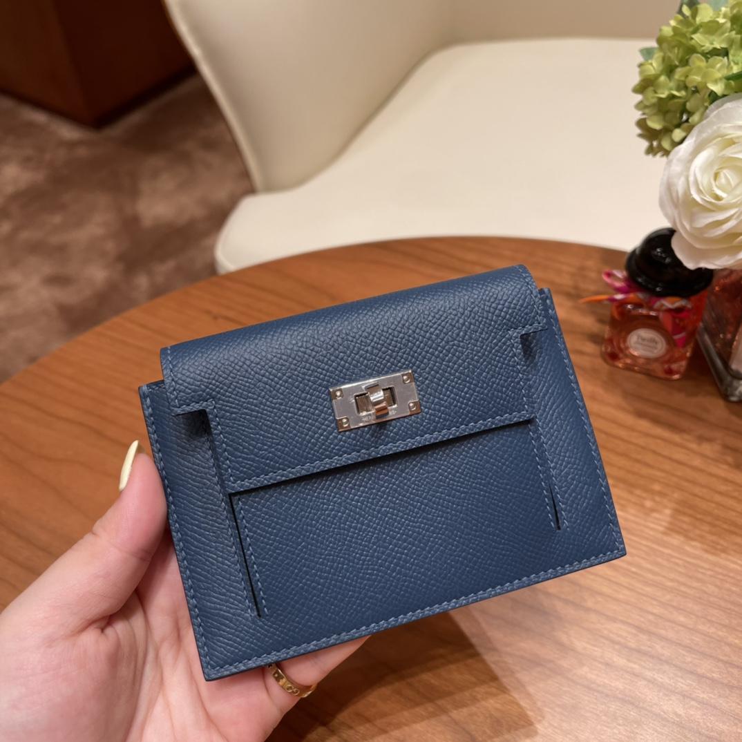 爱马仕包包 Kelly Pocket颜值和实用兼备 Epsom皮 S4深邃蓝 银扣