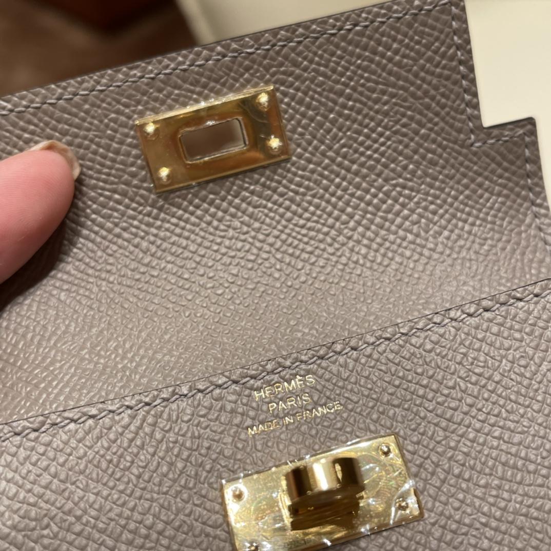 爱马仕包包 Kelly Pocket颜值和实用兼备 Epsom皮 M8沥青灰 金扣
