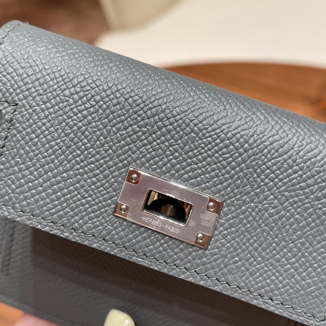 爱马仕包包 Kelly Pocket颜值和实用兼备 Epsom皮 63杏绿银扣