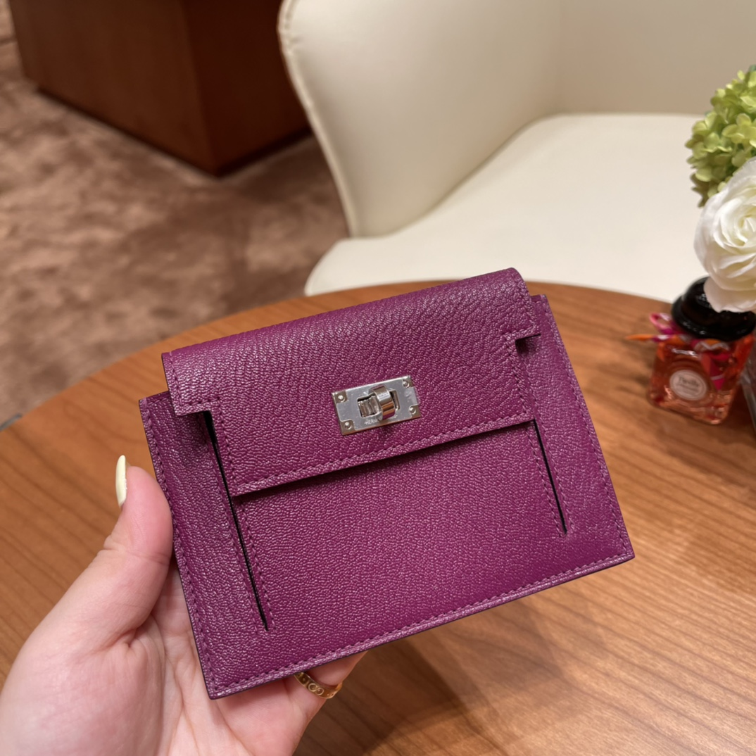 爱马仕包包 Kelly Pocket颜值和实用兼备 山羊皮P9海葵紫银扣